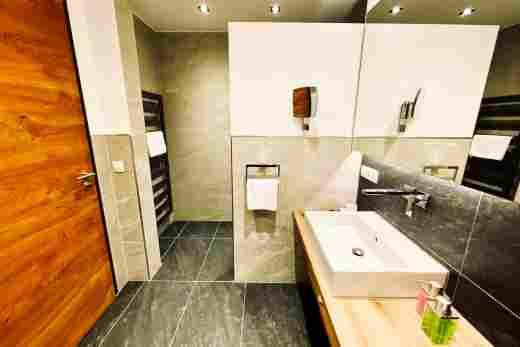 Badezimmer mit Dusche in der  Ferienwohnung Murmeltier II vom Bayerischen Hof Oberstaufen, Löwen Suites