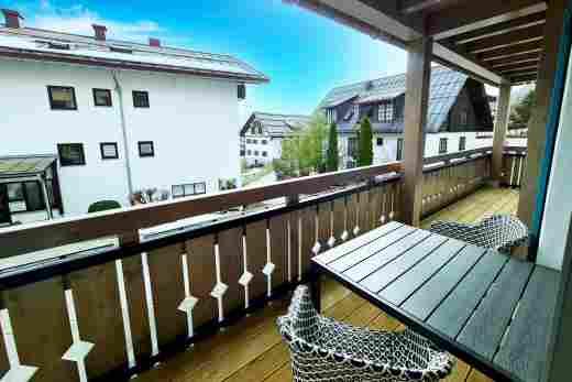 Balkon in der  Ferienwohnung Murmeltier II vom Bayerischen Hof Oberstaufen, Löwen Suites