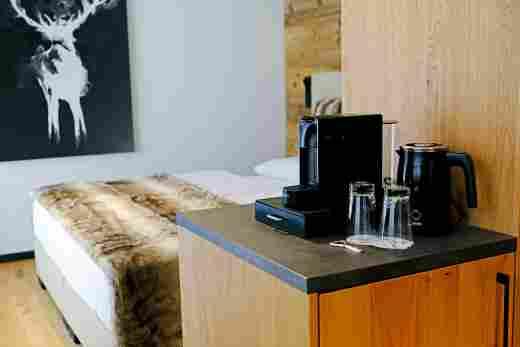 Kaffeemaschine und Wasserkocher im Doppelzimmer Murmeltier, Löwen Suites